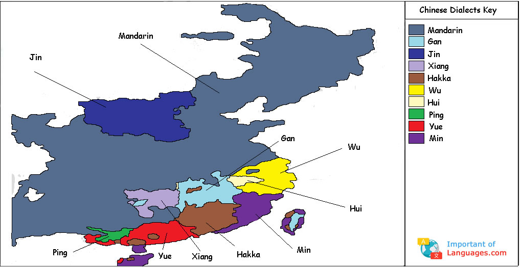 Different Chinese Dialects Found In China - World map in chinese language